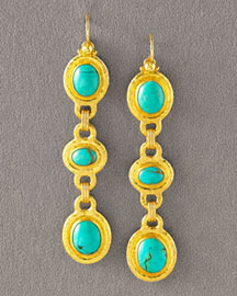 Gurhan Three-Drop Turquoise Earrings -  Earrings -  Neiman Marcus