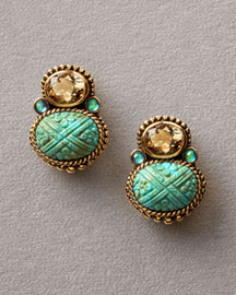 Stephen Dweck Turquoise Piggy-Back Earrings -  Earrings -  Neiman Marcus :  fashion accessory design fashion accessories designer