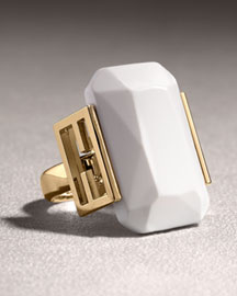 Fendi Solitaire Ring, White -  Jewelry  -  Neiman Marcus :  chic gold summer clothing designer