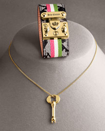 Juicy Couture Couture Canvas Cuff & Key Pendant Necklace -  Jewelry  -  Neiman Marcus