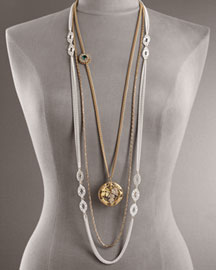 Juicy Couture            Vintage Estate Layered Necklace -   		New Arrivals - 	Neiman Marcus :  yellow gold plate jeweled layered necklace green