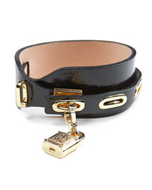Juicy Couture            Leather Wrap-Lock Cuff Bracelet -   		New Arrivals - 	Neiman Marcus :  wrap-lock juicy couture padlock gold plating