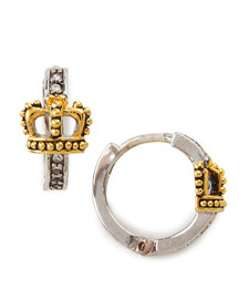 Juicy Couture            Pave Crown Huggie Earrings -   		New Arrivals - 	Neiman Marcus :  yellow gold plate yellow gold crown huggie
