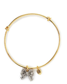Juicy Couture            Pave Bow Wish Bangle -   		New Arrivals - 	Neiman Marcus :  yellow gold plate clear yellow gold wish
