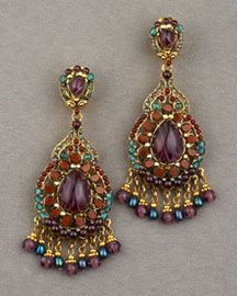 Jose & Maria Barrera Embellished Teardrop Earings -  New Arrivals -  Neiman Marcus :  jose and maria berrera gold-plated 24-karat cabochons