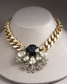 Brass & Crystal Necklace -  Neiman Marcus