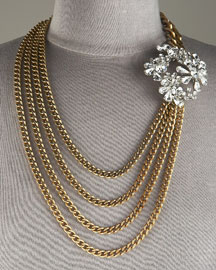 Brass & Crystal Necklace, Long -  Neiman Marcus