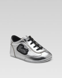 Gucci Baby Sneaker- Gucci- Neiman Marcus :  formal label sneaker silver