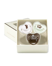 Juicy Couture            Logo Pacifiers, Set of Three -   		Baby - 	Neiman Marcus :  scottie print baby pacifiers gift box