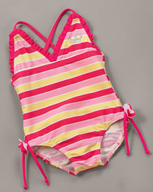 Juicy Couture            Stripe Swimsuit -   		Baby - 	Neiman Marcus :  sugared grapefruit stripes spandex polyester