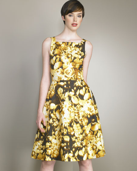 Marigold-Print Dress -  Neiman Marcus :  floral dress retro gold