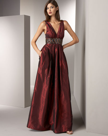 Beaded Taffeta Gown -  Neiman Marcus