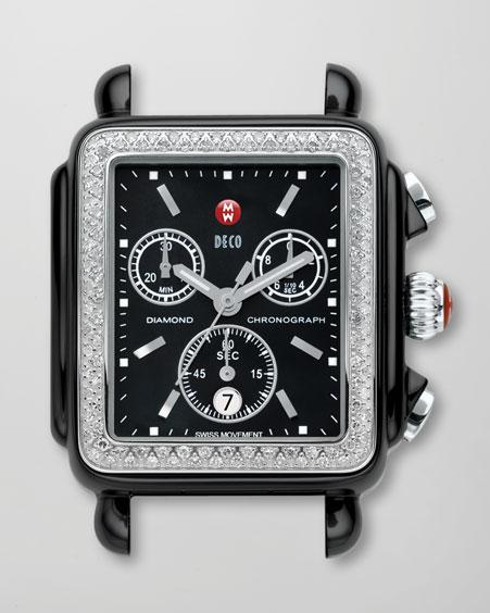 Michele Watches Ceramic Deco Diamond Watch, Black