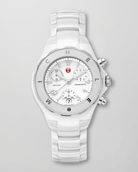 Michele Watches Tahitian Ceramic Watch, White