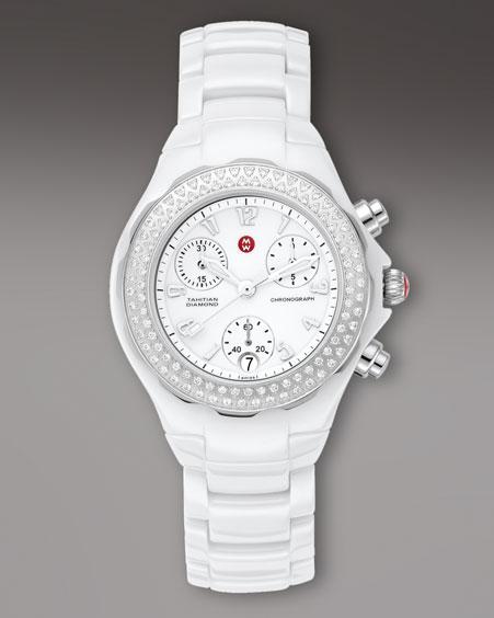 Michele Watches Tahitian Diamond Ceramic Watch, White