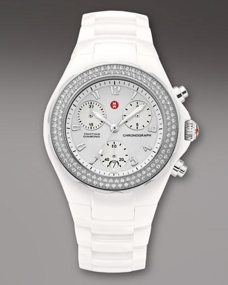 Michele Watches Large Tahitian Diamond Ceramic Chronograph, White