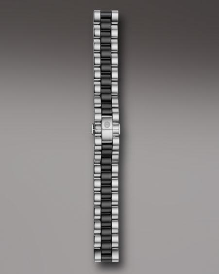 Michele Watches Deco 18mm Ceramic & Steel Bracelet, Black