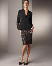 Lace-Applique Jacket & Skirt