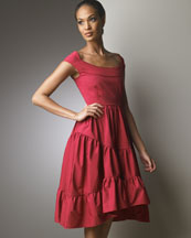 Tiered Asymmetric Dress -  Neiman Marcus :  cherry italy dress open back