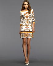 Shell Printed Jersey Dress -  Neiman Marcus :  three quarter sleeve boatneck daywear work