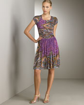 Ruched Shoulder Dress -  Neiman Marcus :  purple dress short daywear