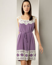 Window Lace Dress -  Neiman Marcus :  cream sleeveless purple lavender