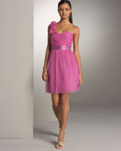 Phoebe Couture One-Shoulder Rosette Dress