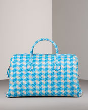 Printed Plaid Boston Bag -  Neiman Marcus :  blue printed white bottega veneta
