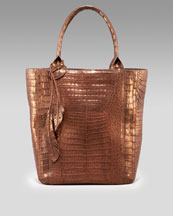 Nancy Gonzalez - Hanging-Leaf Crocodile Tote - Neiman Marcus :  leather nancy gonzalez bronze metallic