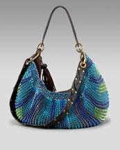 Diane von Furstenberg-Stephanie Slouchy Hobo, Ocean-Neiman Marcus :  blue bag hobo metallic