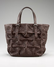 Bottega Veneta - Pleated Woven Tote  :  woven tote pleated bottega veneta