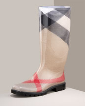 Burberry Check Rain Boot. Red/beige/white/black check. Rubber heel and sole.