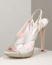 Slingback Sandal- Neiman Marcus :  sandal leather versace pearlized