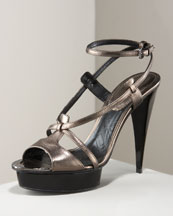 Burberry - Metallic Strappy Sandal - Neiman Marcus :  platform sandal metallic shoes