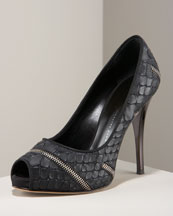 Zip-Detail Pump -  Neiman Marcus :  platform shoes zips snake