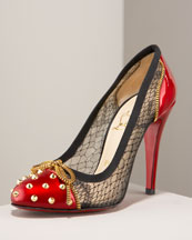 X0D4T Christian Louboutin Candy Lace & Patent Spike Pump