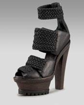 Burberry-Woven Platform Sandal-Neiman Marcus :  platform ankle shoes heel