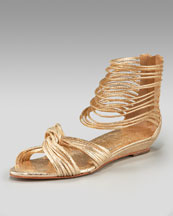Loeffler Randall - Metallic Flat - Neiman Marcus :  sandal shoes metallic gold