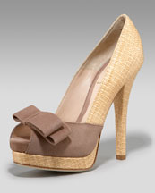 Fendi - Raffia and Suede Pump - Neiman Marcus :  shoes straw nude sand