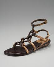 Stuart Weitzman Snake-Embossed Gladiator Sandal