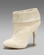 Elizabeth and James - Snake-Embossed Detail Bootie - Neiman Marcus :  platform suede boot bone