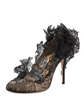 Valentino - Sculpture Lace Pump :  formal evening shoes mesh