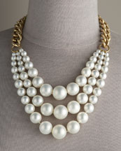 Pearl Chain Necklace -  Neiman Marcus :  necklace gold strands yellow gold