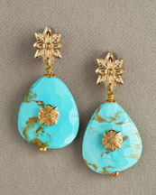 Stephen Dweck Bronze Flower Earrings