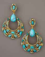 Jose & Maria Barrera Turquoise Crescent Earrings  :  clip on gold earrings austrian crystals