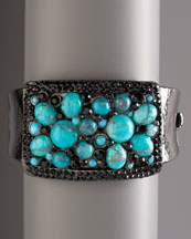Jose & Maria Barrera Turquoise Cuff  :  gunmetal jose maria austrian crystals cuff