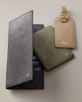Shagreen-Embossed Leather Travel Accessories