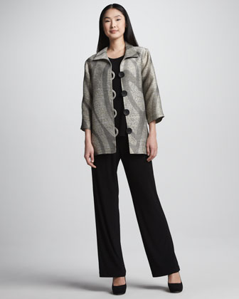 Swirl Easy Shirt Jacket, Stretch-Knit Long Tank, Straight-Leg Jersey Pants, ...