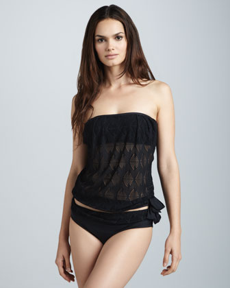 Heavenly Laser-Cut Bandeau Tankini, Black
