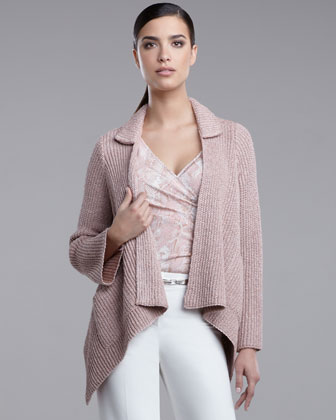 Ribbed Knit Scarf Jacket, Deep Rose